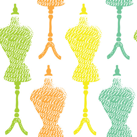 hand craft: Sewing mannequin seamless pattern. Hand drawn.