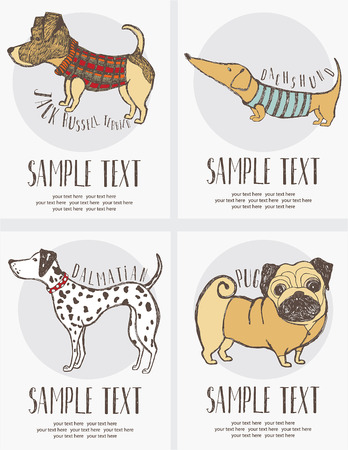 Sketch-style drawing of the dogs cards set. Hand drawn. Vector