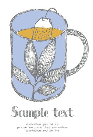 teabag: Tea card. Blue mug of tea. Hand drawn.