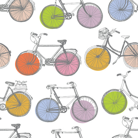 bicycle wheel: Vintage colorful bicycle. Hand drawing sketch. Illustration