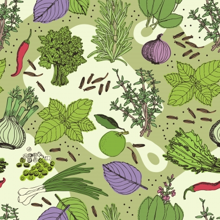 Herbs and spice seamless pattern. Hand drawing