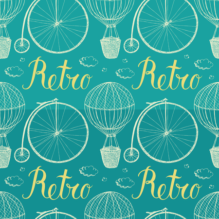 air animals: Vintage hot air balloon and bicycle. Blue background. Hand drawing Illustration