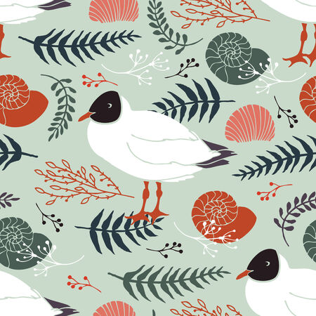 Background with gulls on the coast. Herbs, twigs, fern and leaves Vector