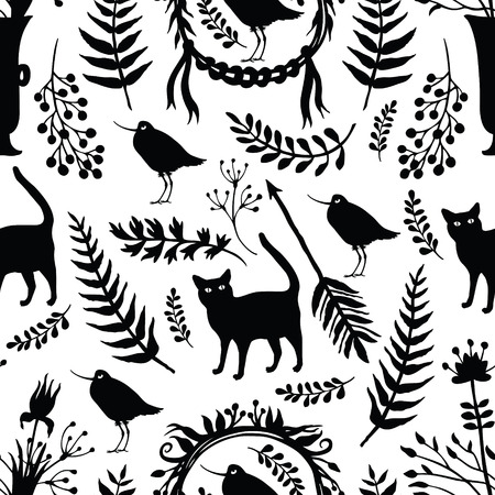 Background with silhouettes of birds and cats, flowers, herbs, fern and twigs Vector
