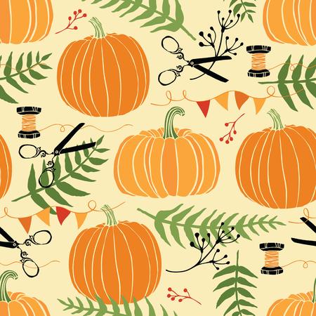 calabaza caricatura: Decoraci�n festiva, las calabazas y los helechos. Dibujo a mano Vectores
