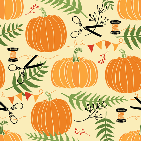 Festive decoration, pumpkins and ferns. Hand drawing Vector
