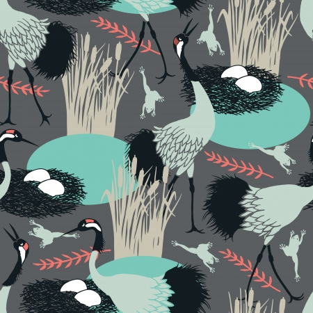 Background with Common Cranes and nest in the marsh Vector