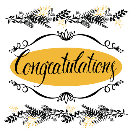 congratulations text: Congratulations card with forest herbs and calligraphy Illustration