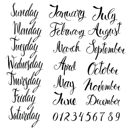 typography signature: Days of the week, months, and numbers. Calligraphy