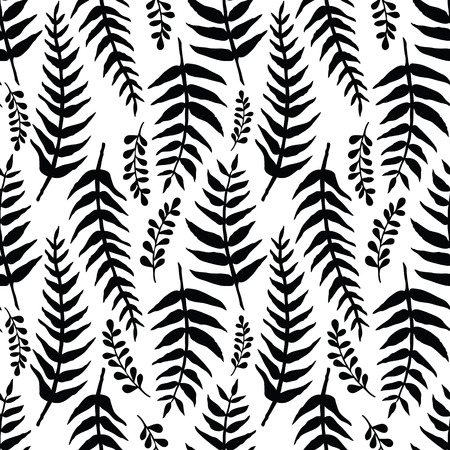 ferns: Fern seamless background. Black and white