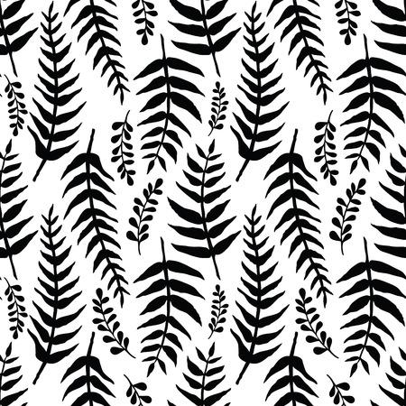 Fern seamless background. Black and white