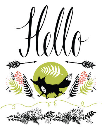 Hello postcard cover design. Happy fox and forest herbs Vector