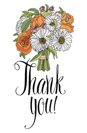 Thank you design card with bouquet. Calligraphy and hand drawing Vector