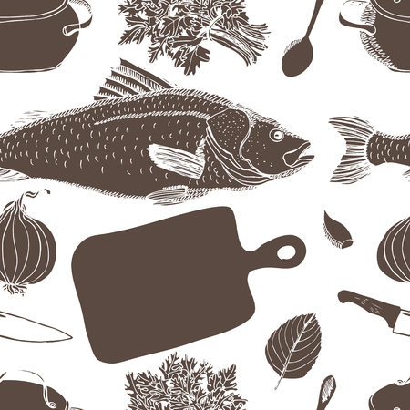 spawn: Fish soup pattern.   Illustration