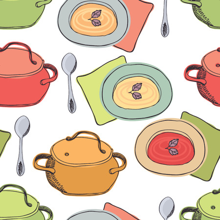 cooking utensils: Pots and plates seamless background