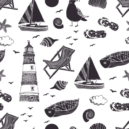 Sea seamless pattern.  Vector