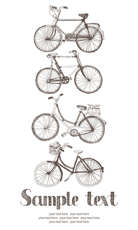 Vintage bicycle card. Hand drawing sketch Vector