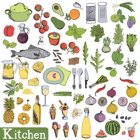 Big kitchen set. Utensils and food, vegetables, fruit and dessert.