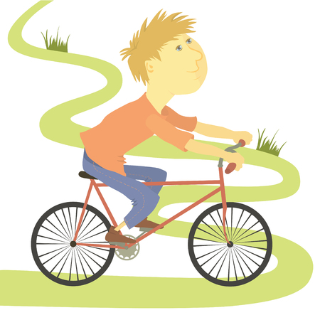 Boy riding bicycle. The boy in jeans and a red T-shirt riding a bicycle. Vector