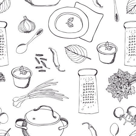 Cooking dinner background. Vector