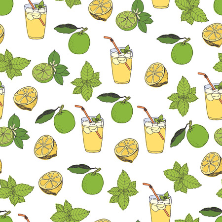 Lemonade pattern. Hand drawing sketch Vector