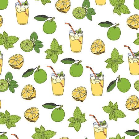 lemonade: Lemonade pattern. Hand drawing sketch Illustration