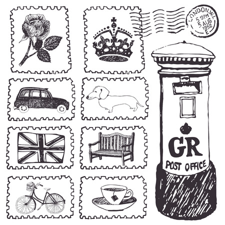 Postal stamps set. Hand drawing sketch Vector