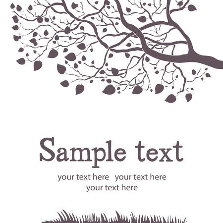 Spring tree black and white design card Illustration
