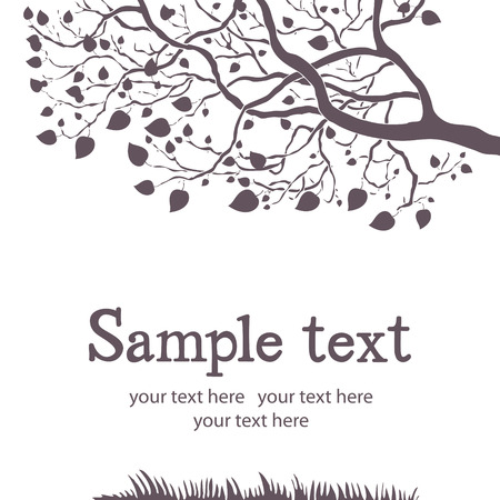tree outline: Spring tree black and white design card Illustration