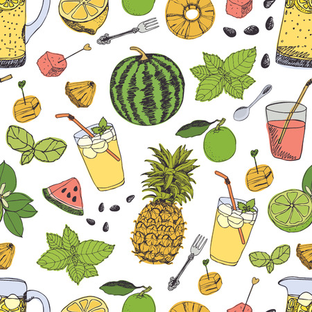 Summer freshness pattern with watermelon and pineapple Vector