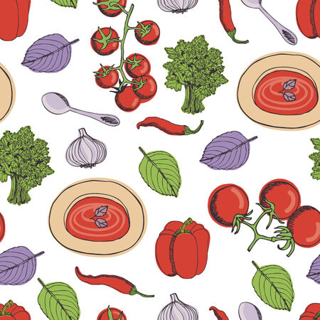 Tomato soup kitchen seamless pattern Vector
