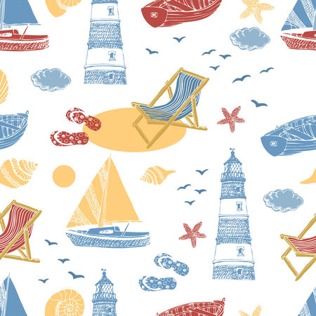 Vacation at Sea background.   Vector