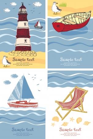 flops: Holidays on the sea beach design cards.