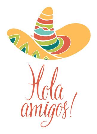 hola: Hola amigos. Design card with calligraphy