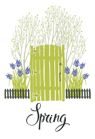 Spring card with the green door of garden and blooming irises