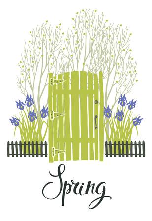 Voorjaar kaart met de groene deur van de tuin en bloeiende irissen
