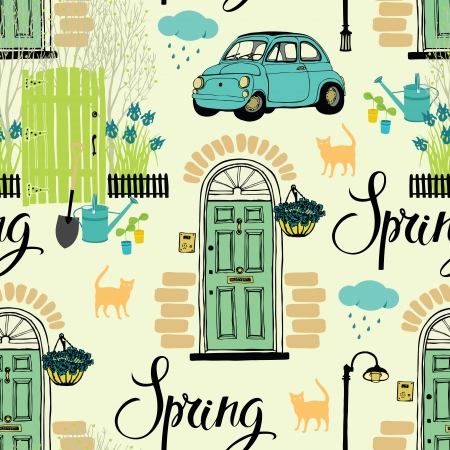 Spring garden and blooming irises, cats and cars Vector