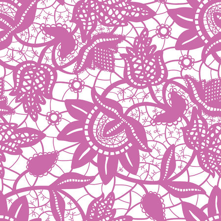 Magic purple wedding lace seamless background Vector