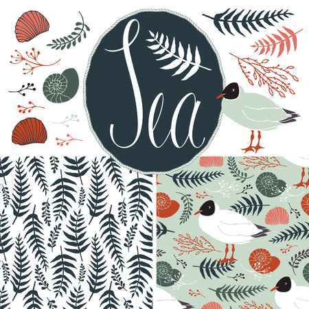 Backgrounds with gulls and ferns. Sea and nature set