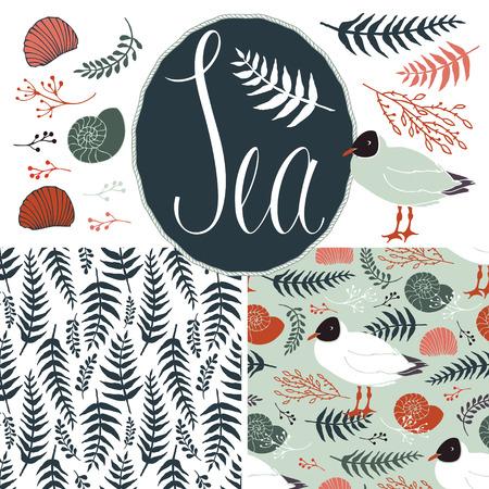 helechos: Fondos con las gaviotas y los helechos. Mar y naturaleza conjunto