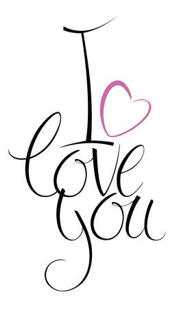 curare teneramente: Ti amo. Card design calligrafia