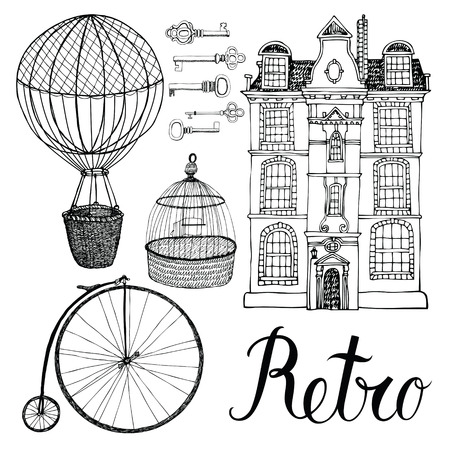 Retro objects, house and transport. Hand drawing and calligraphy set Vettoriali