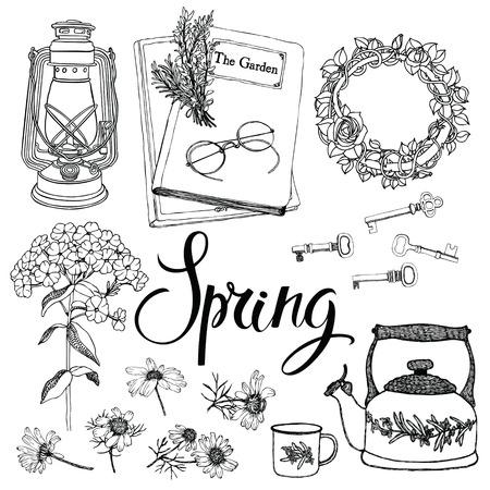 objetos de la casa: Objetos de la vendimia para el hogar y las flores, tema de la primavera. Dibujo a mano y conjunto de caligraf�a de