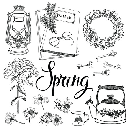 Vintage household objects and flowers, spring theme. Hand drawing and calligraphy set