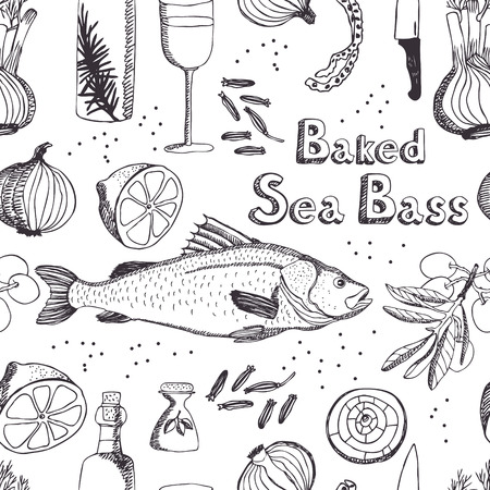 sardines: Baked Sea Bass seamless background