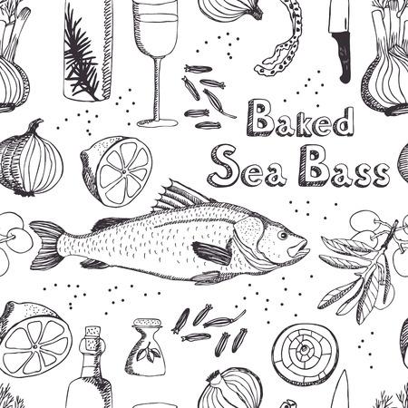 Baked Sea Bass seamless background