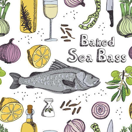 sea bass: Baked Sea Bass, kitchen pattern