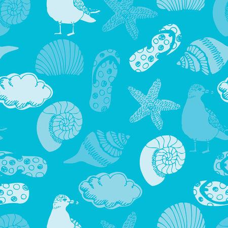 flops: Summer beach, blue seamless background