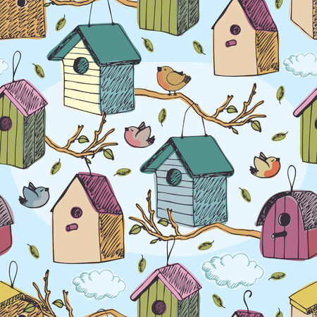 Birds and starling houses, blue sky and clouds Vector