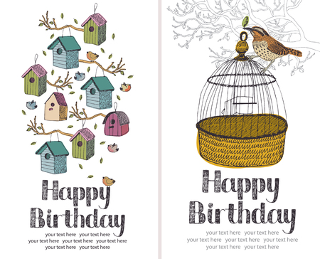 Birds Happy Birthday design card Vector